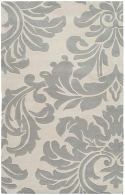 Wool 4' x 6' Area Rug, Medium Gray/Cream, large