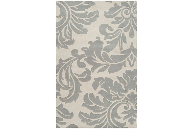Wool 4' x 6' Area Rug, Medium Gray/Cream, large
