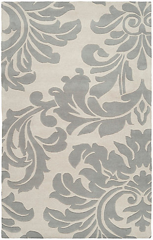 "Wool 7'6"" x 9'6"" Area Rug, Medium Gray/Cream, large"