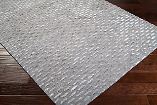 Wool 5' x 8' Area Rug, Medium Gray/Taupe, rollover