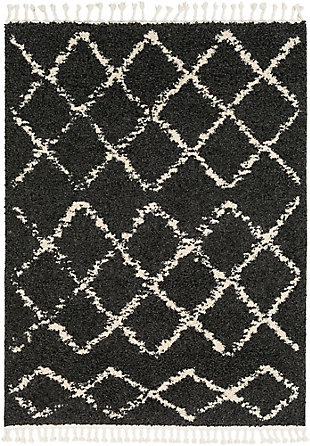 "Plush 7'10"" x 10'3"" Area Rug, Charcoal/Beige, large"