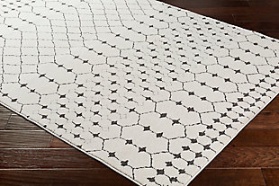 "Modern 7'10"" x 10'3"" Area Rug, Charcoal/Beige/Gray, rollover"