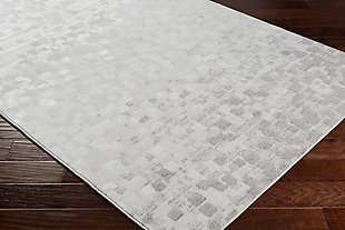 "Modern 7'10"" x 10' Area Rug, Light Gray/White, rollover"