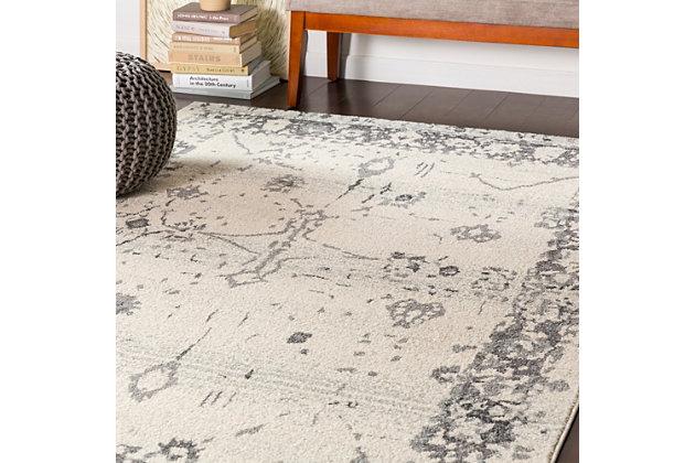 Rectangular Area Rug, Charcoal/Gray/White, large