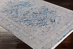 Distressed Pattern Area Rug, Medium Gray/Aqua/Sky Blue, large