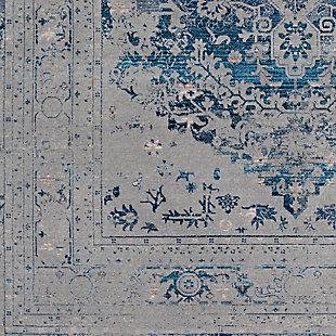 Distressed Pattern Area Rug, Medium Gray/Aqua/Sky Blue, large