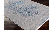 Distressed Pattern Area Rug, Medium Gray/Aqua/Sky Blue, rollover