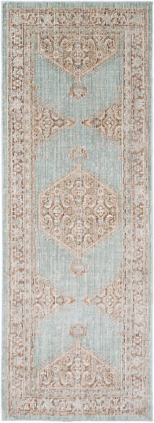 Rectangular Area Rug, Cream/Camel/Seafom, large