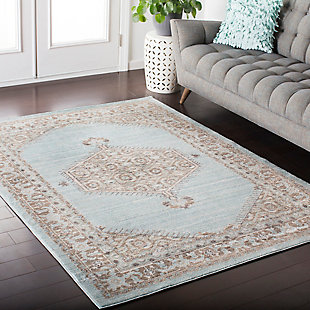 Rectangular Area Rug, Cream/Camel/Seafom, rollover