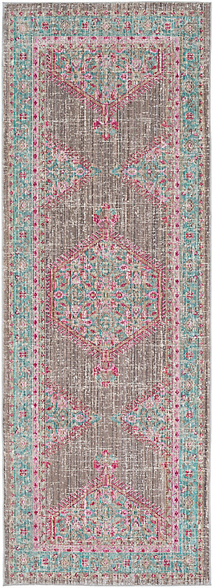 Rectangular Runner, Teal/Taupe/Bright Pink, large