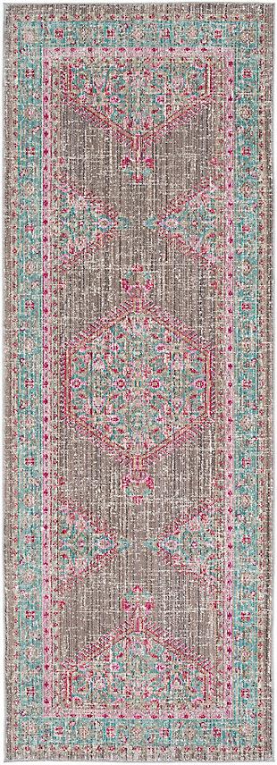 Rectangular Runner, Teal/Taupe/Bright Pink, large