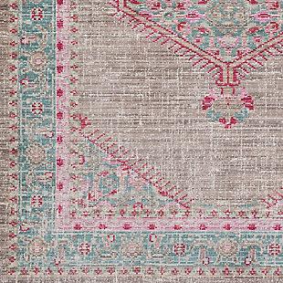 Rectangular Area Rug, Teal/Taupe/Bright Pink, large