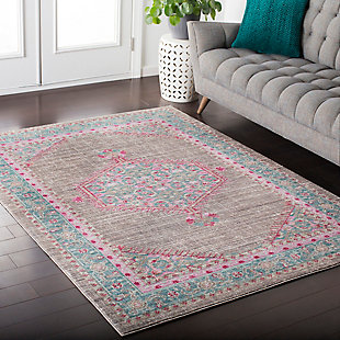 Rectangular Area Rug, Teal/Taupe/Bright Pink, rollover