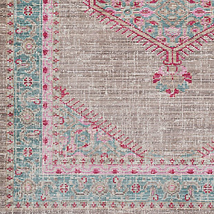 Rectangular Area Rug, Teal/Taupe/Bright Pink, large