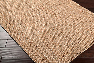 Hand Hooked Jute Area Rug, Wheat, rollover