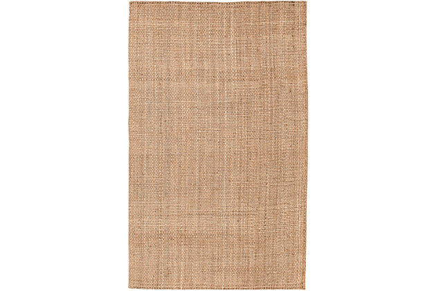 Hand Hooked Jute Area Rug, Wheat, large
