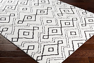 Modern Area Rug, Black/Charcoal/White, rollover
