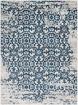 Distressed Pattern Area Rug, Blue, large