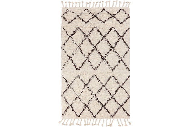 Hand Crafted Tassel Area Rug, White/Camel, large