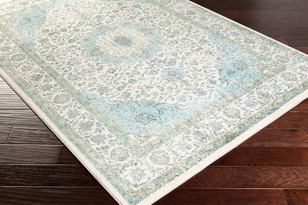 "Home Accents Aberdine 5'2"" x 7'6"" Area Rug, Teal/Ivory, large"