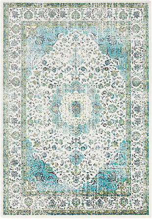 "Home Accents Aberdine 7'10"" x 10'6"" Area Rug, Teal/Ivory, large"
