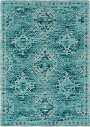 Hand Crafted 2' x 3' Area Rug, Aqua/Teal/Ivory, large
