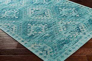 Hand Crafted 2' x 3' Area Rug, Aqua/Teal/Ivory, rollover