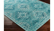 "Hand Crafted 5' x 7'6"" Area Rug, Aqua/Teal/Ivory, rollover"