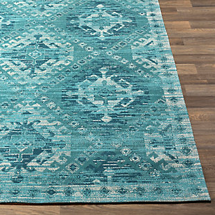 "Hand Crafted 5' x 7'6"" Area Rug, Aqua/Teal/Ivory, large"