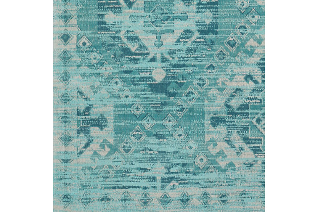 Hand Crafted 8' x 10' Area Rug, Aqua/Teal/Ivory, large