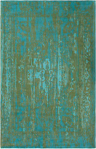Hand Crafted 5' x 8' Area Rug, Teal/Olive Green, large