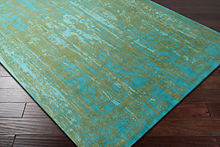 Hand Crafted 5' x 8' Area Rug, Teal/Olive Green, rollover