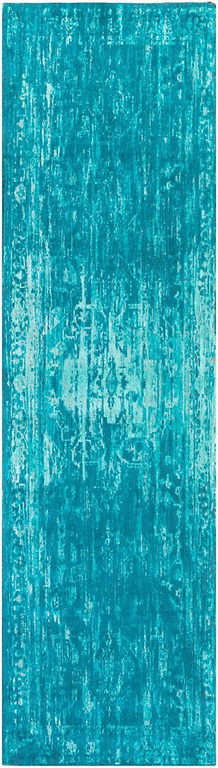 """Hand Crafted 2'3"""" x 8"""" Area Rug, Teal/Turquoise, large"""