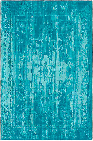 Hand Crafted 4' x 6' Area Rug, Teal/Turquoise, large