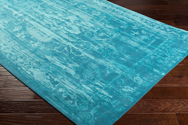 Hand Crafted 5' x 8' Area Rug, Teal/Turquoise, large