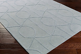 Hand Crafted 4' x 6' Area Rug, Gray, rollover
