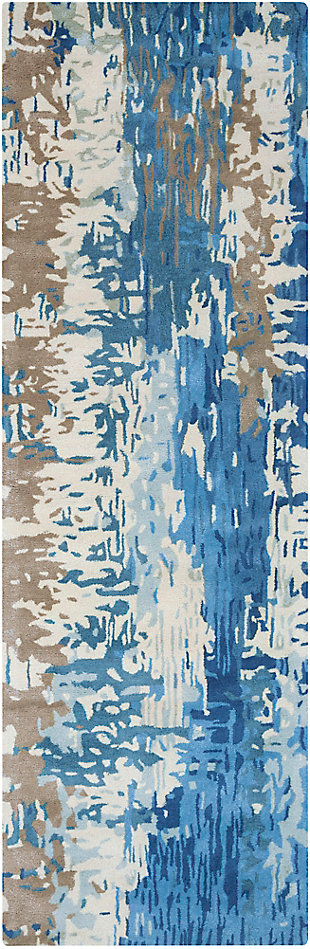 """Hand Crafted 2'6"""" x 8' Area Rug, Multi, large"""