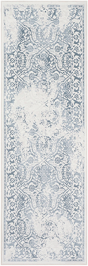 "Modern 2'7"" x 7'10"" Area Rug, White/Light Gray/Denim, large"