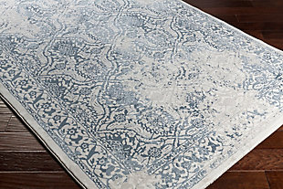 "Modern 5'3"" x 7'6"" Area Rug, White/Light Gray/Denim, rollover"