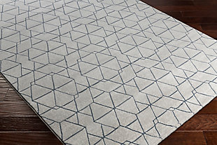 "Modern 2'7"" x 7'10"" Area Rug, White/Light Gray/Denim, rollover"
