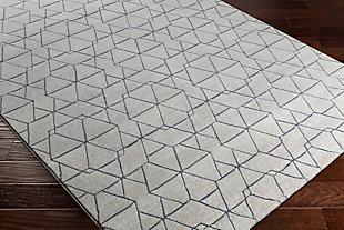 """Modern 2'7"""" x 7'10"""" Area Rug, White/Light Gray/Denim, rollover"""