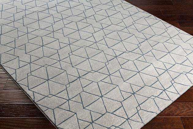 """Modern 2'7"""" x 7'10"""" Area Rug, White/Light Gray/Denim, large"""