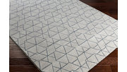 """Modern 5'3"""" x 7'6"""" Area Rug, White/Light Gray/Denim, rollover"""