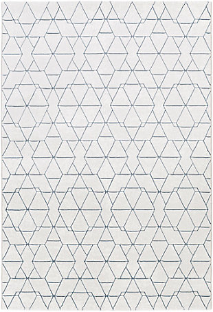 "Modern 7'10"" x 10' Area Rug, White/Light Gray/Denim, large"