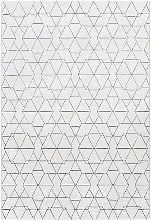 """Modern 7'10"""" x 10' Area Rug, White/Light Gray/Denim, large"""