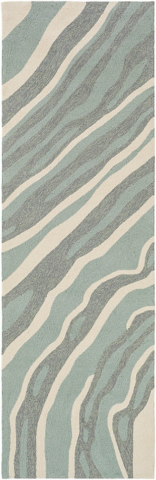 "Hand Hooked 2'6"" x 8' Area Rug, Two-tone Gray/Beige, large"