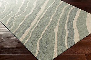 "Hand Hooked 2'6"" x 8' Area Rug, Two-tone Gray/Beige, rollover"