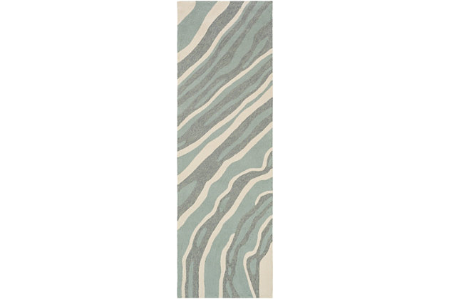 """Hand Hooked 2'6"""" x 8' Area Rug, Two-tone Gray/Beige, large"""