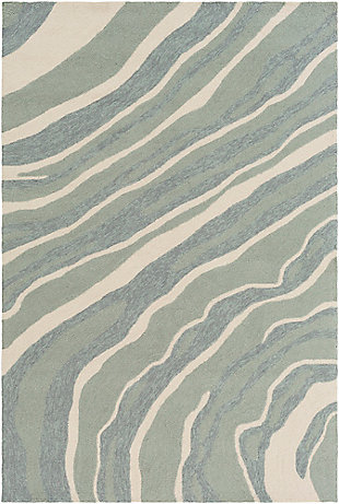 Hand Hooked 4' x 6' Area Rug, Two-tone Gray/Beige, large