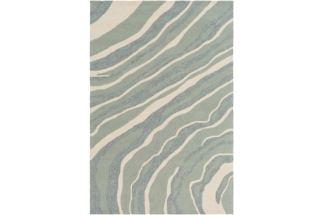 """Hand Hooked 5' x 7'6"""" Area Rug, Two-tone Gray/Beige, large"""